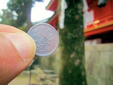1円硬貨の小賀玉木