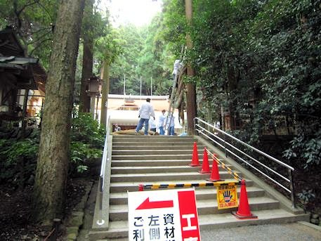 工事中の狭井神社