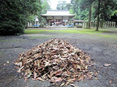 落ち葉と村屋神社拝殿