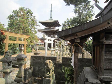 鳥居と百済寺三重塔