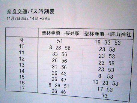 奈良交通バス時刻表