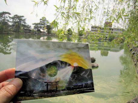 猿沢池とポストカード