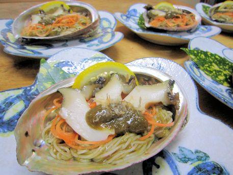 三輪素麺の鮑肝和え