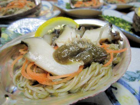 三輪素麺のアワビ肝和え