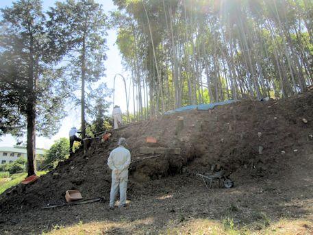 高取町教育委員会の古墳発掘現場