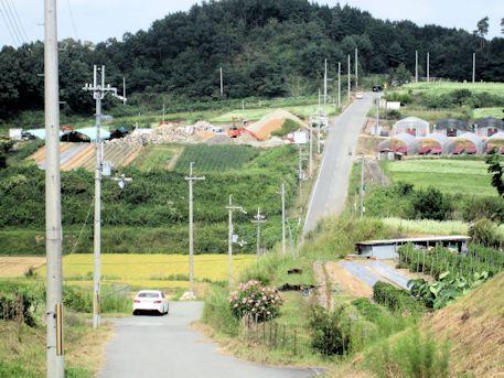 笠地区の坂道