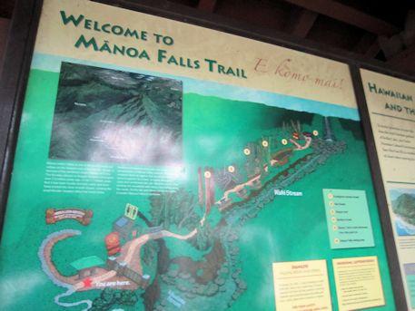マノア・フォールズ・トレイルの地図