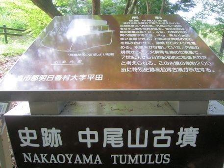 史跡中尾山古墳の案内板