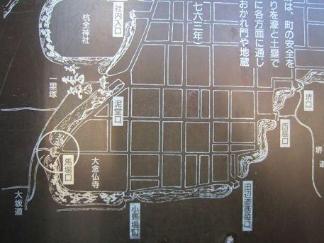 平野郷十三口の地図