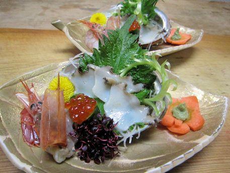徳島産鮑の刺身