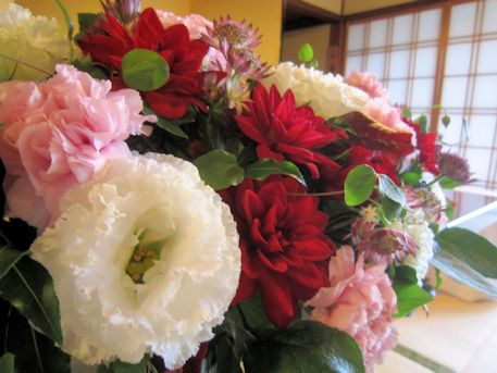 トルコ桔梗の高砂装花