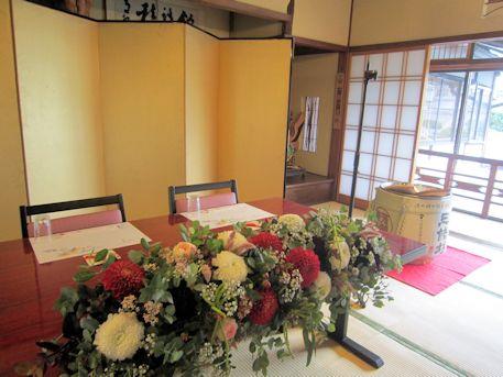 高砂装花と酒樽